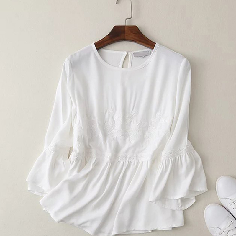 Women floral embroidery white blosue shirt o neck flare for Womens white shirts high quality
