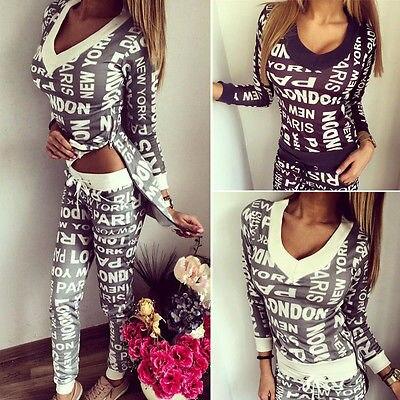 NEW Arrivals Women Letter Print Tracksuit V-neck Hoodie Sweatshirt Coat+Pants Casual Suits 2Pcs Sets