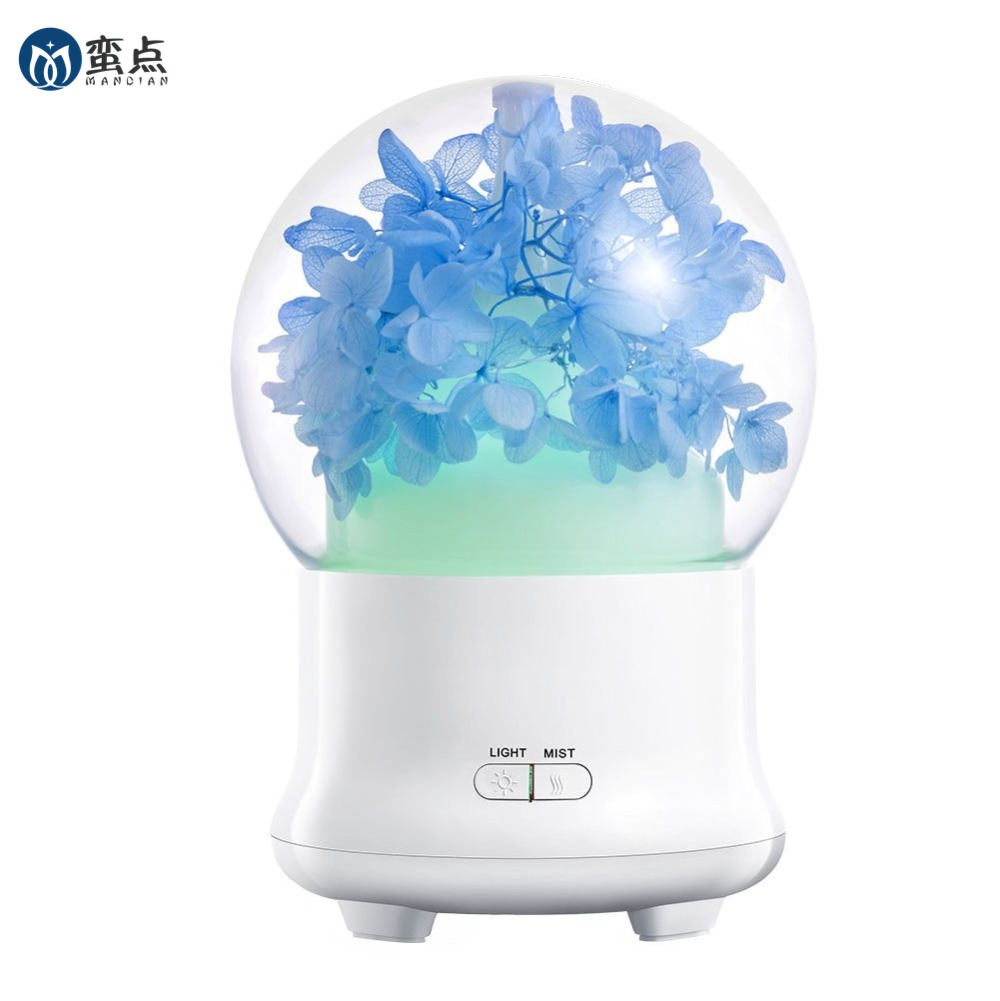Eternal flowers type 100ml Aroma Essential Oil Diffuser Cool Mist Whisper-Quiet Humidifier with 2 Mist mode and 7 LED lights