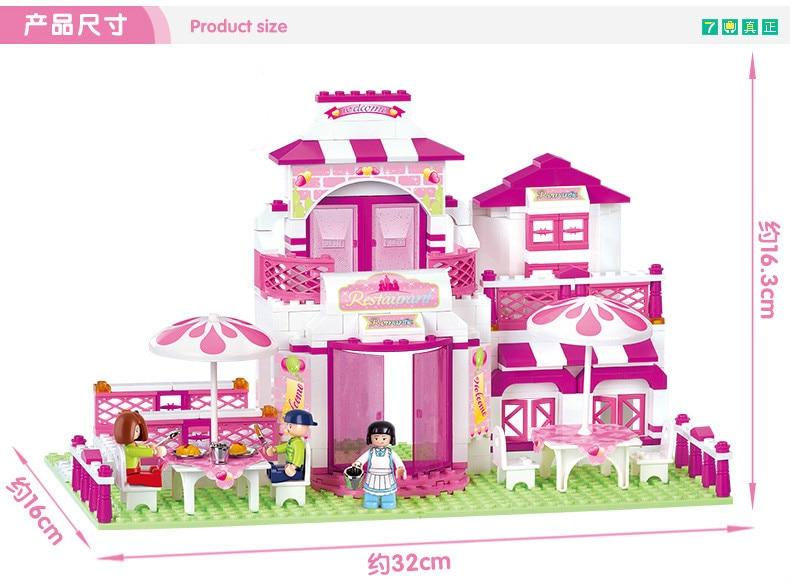 Sluban Pink Dream Series Romantic Restaurant Pink House Dream Restaurant Building Block Sets Model  Toys Compatible With Legoe sluban pink dream girls