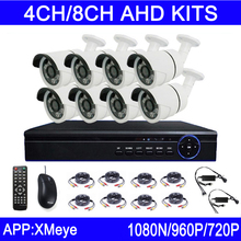 New Hot Sale 720P/960P/1080P 6pcs Array Leds 4CH/8CH Channels Outdoor AHD CCTV Security Camera KITs Free Shipping