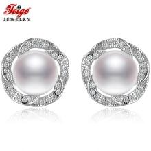 Fashion Flower 925 Sterling Silver Earrings for Woman Wedding Gifts 8-9MM White Freshwater Pearl Stud Earring Fine Jewelry FEIGE