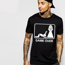 Fun Casual T Shirts Marry Game Over Slim Fit Cotton Husband Wife Printing Men's Summer harajuku funny T-shirt Camisetas hipster