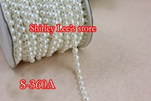 2016 Hot Sale!!! 6 ROLLS (25 METERS/ROLL) X 6mm FLAT BACK PEARL BEAD TRIM In Pink, Ivory ,White DIY Wedding Bouquets