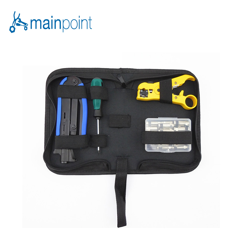 Mainpoint RG6/11 Coaxial Cable Crimping Pliers Squeeze Clamp Cable TV Crimping Multifunction Tool Set With 20 F Head Screwdriver multifunction rg58 rg59 rg6 rg62 coaxial cable stripping pliers