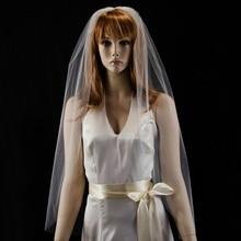 """3"""" Длина кончика пальцев свадебная вуаль с простой кромкой белая свадебная вуаль цвета слоновой кости с расческой Veu De Noiva Longo"""