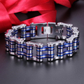Chunky Motorcycle chain Bracelet Biker Stainless Steel Amazing Jewlery For Men Gifts 23mm 8.26'' Silver Blue