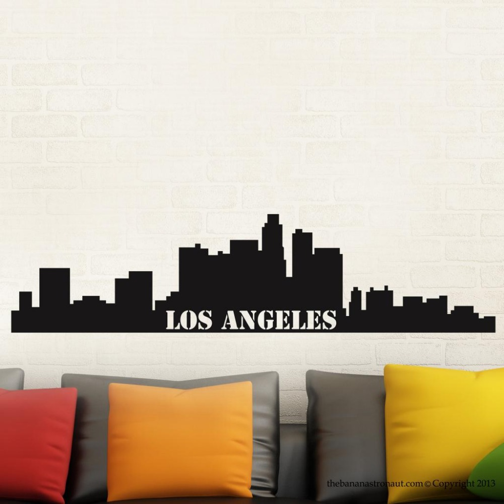 Free Shipping Los Angeles Skyline Easy Instant Modern Home Decor Wall Sticker Decal Removable Gw