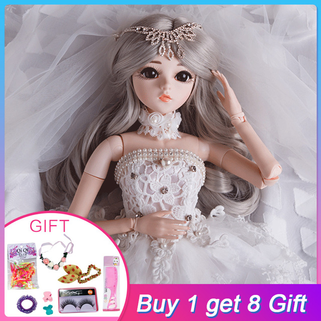 UCanaan 1 3 BJD Doll Wig Makeup SD Dolls Wedding Dress 18 Joints Body Beauty  Clothes Shoes Princess Dolls Toys for Girls 632738f896e4