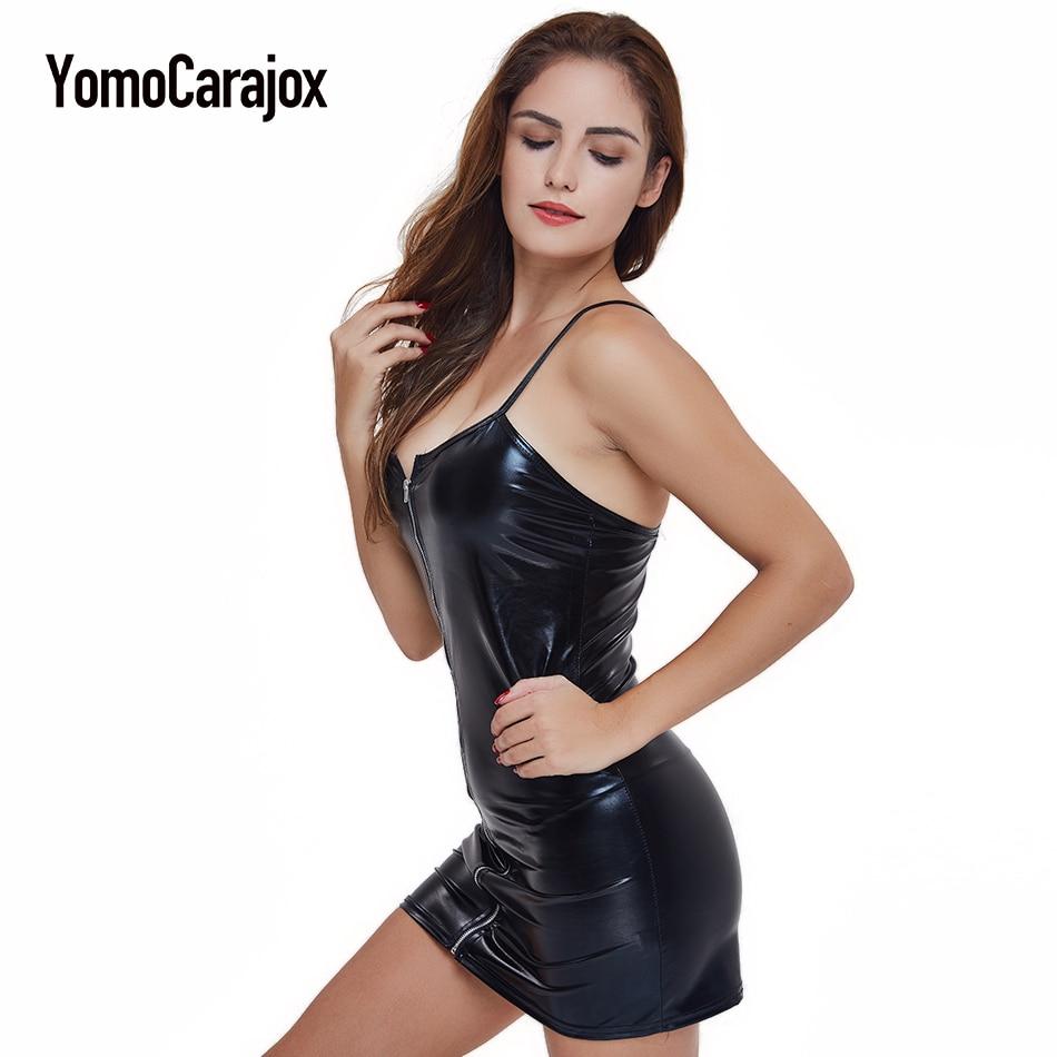 Plus Size 3XLHot Vrouwen Sexy Lenceria Bretels Rits 2018 Kostuums Ondergoed Erotische Sexy Lingerie PU Latex Slim Fit Mini Jurk