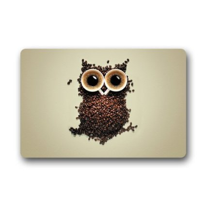 Custom Coffee Bean Owl Decorative Doormat Indoor/Outdoor Doormat 23.6 x 15.7 Non-woven F ...