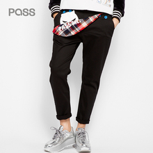 PASS New Women Casual Loose Pants Trousers Cotton Straight Black Character Print Pants