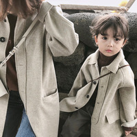 Family Matching Outfits Button Cotton Long Coat Mommy And Me Clothes Casual Jacket Mother And Daughter Outerwear Family Look