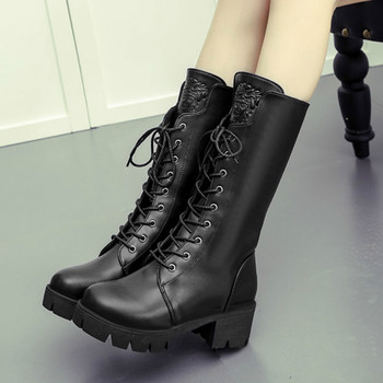 Women Martin Boots Shoes Winter Mid Boots Mid-Calf Lace-Up Round Toe 5cm Thick High Heels Solid Lady Casual Female Pumps Shoes new women fashion mid calf boots for spring autumn pointed toe high heel cross tied black solid shoes lady lace up thin heels
