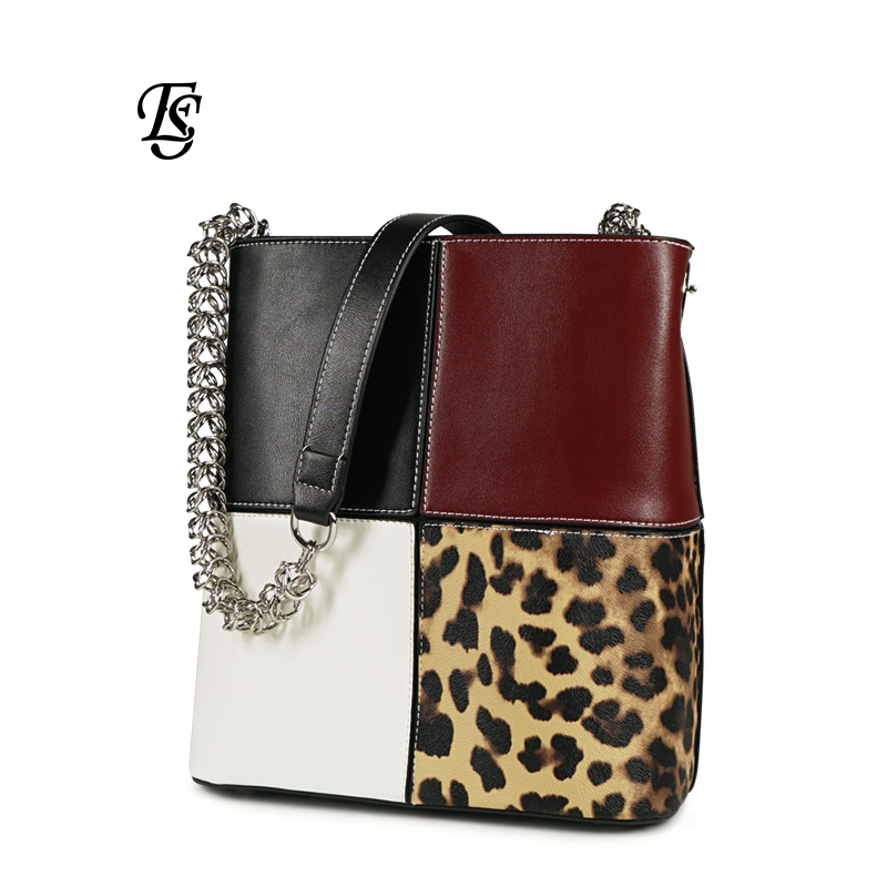 E SHUNFA brand new arrival 2019 fashion mosaic leopard chain woman shoulder bag cross body ladies