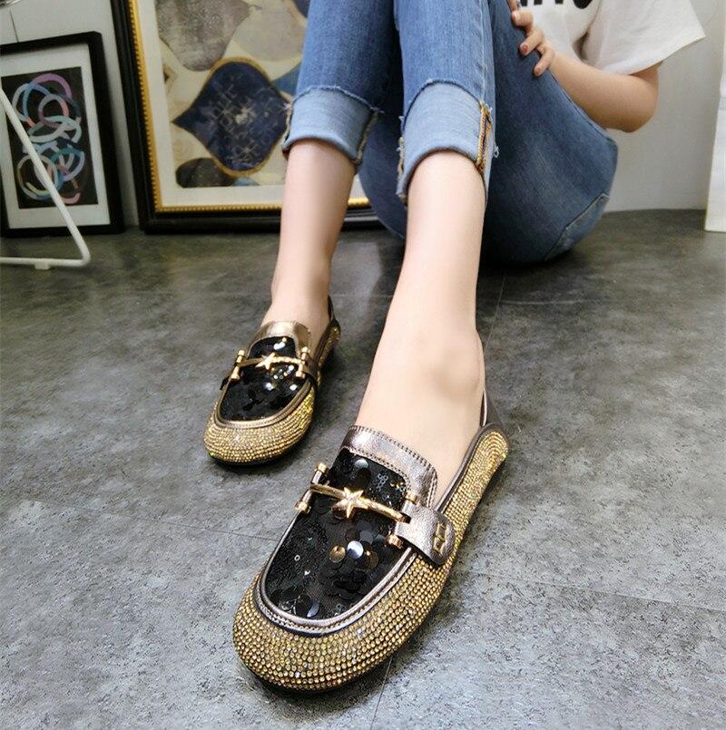 Dames Loafers Ronde Neus Luxe Strass Dames Schoenen Mode Bling Platte - Damesschoenen - Foto 4