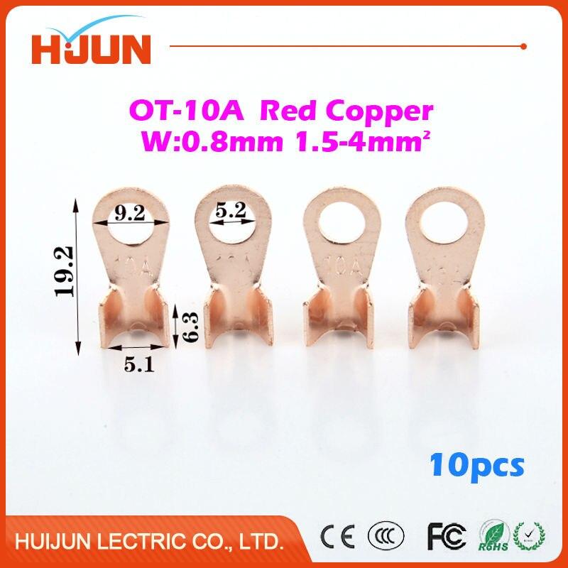 10pcs/lot OT 10A 5.2mm Dia Red Copper Circular Splice
