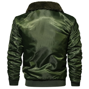 Image 2 - Masculino tático piloto bombardeiro jaqueta inverno outono quente jaquetas de vôo militar gola de pele do exército motocicleta parkas casacos de lã