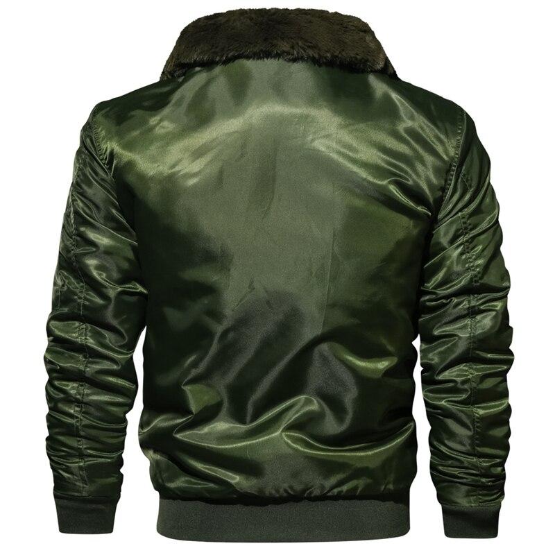 Image 2 - Men's Tactical Pilot Bomber Jacket Winter Autumn Warm Military Flight Jackets Fur Collar Army Motorcycle Parkas Fleece Coats Men-in Jackets from Men's Clothing