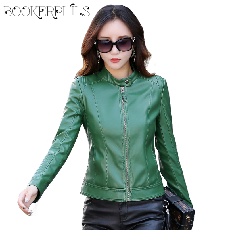 2018 Women's   Leather   Jacket Winter Autumn Plus Size Slim Long Sleeve Faux   Leather   Female Coat Short Casual Basic Jackets M-3XL