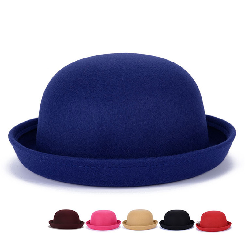 c2ff20d05c4b26 Cute Red Spring Autumn Vintage Dome Women Fedoras Hat Children Imitation Wool  Felt Hat Church Mother