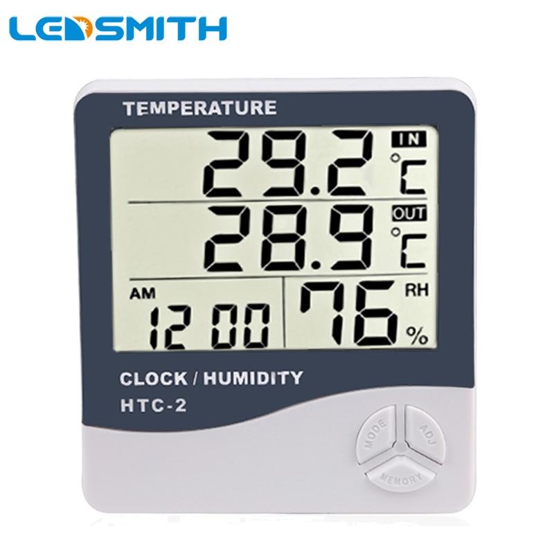 f2870c659c3 HTC-2 Eletrônico de Temperatura Digital LCD Termômetro Higrômetro Medidor  de Umidade Tester Relógio Despertador Estação Meteorológica Interior e  Exterior