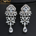 Vintage CZ Simulated Diamond Jewelry White Gold Plated Long Big Crystal Chandelier Earrings For Women CZ230