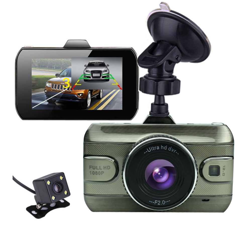 2017 New 3 0 inch Dual Lens Car Dvrs Full HD 1080P Car Dvr Video Recorder