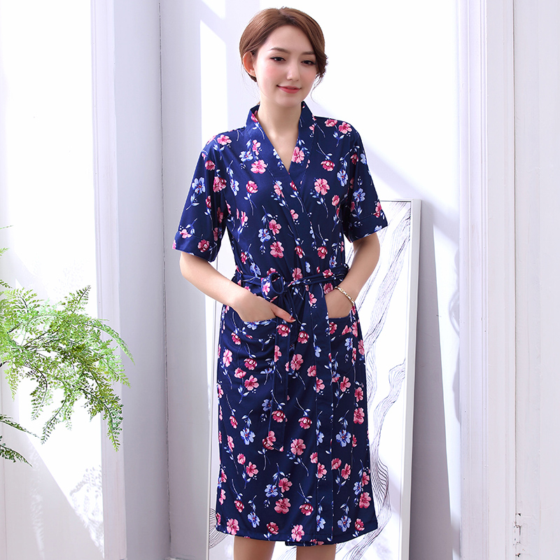 Newest Summer 100%Cotton Women Robe Short Sleeve V-neck Loose Sexy Cardigan Elegant Female Bathrobe Plus Size L-XXXL Nightgowns