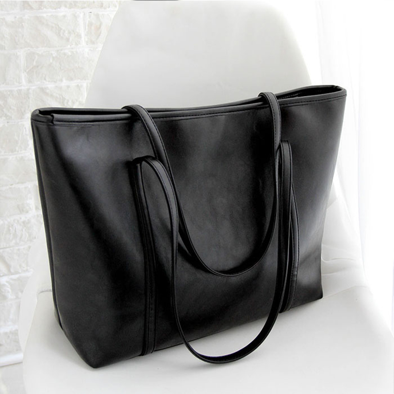 Women famous brand 2018 PU Leather Handbag Casual Style Big Tote Bag High Quality Female Large Shoulder Bags High Capacity 2016 famous brand large real leather tote bag female cow leather handbag high end women vintage bag black casual top handle bags