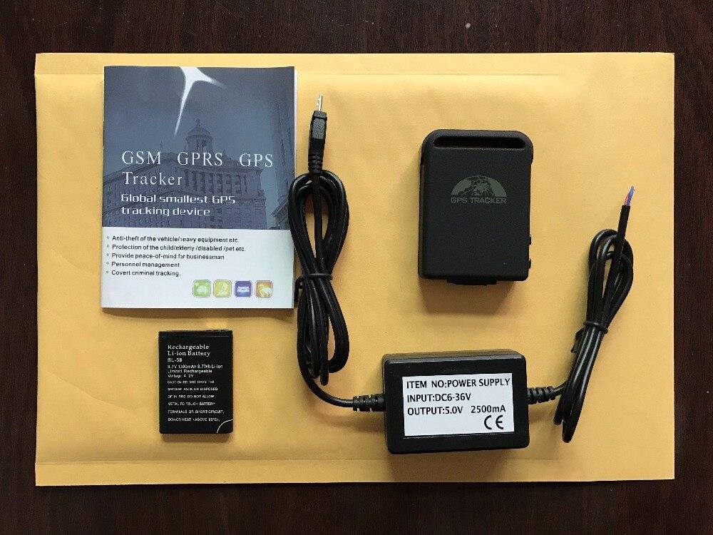 Gps трекер TK102 с 1 шт. батареей+ жестким проводным автомобильным зарядным устройством, TK102B, простая упаковка без подарочной коробки