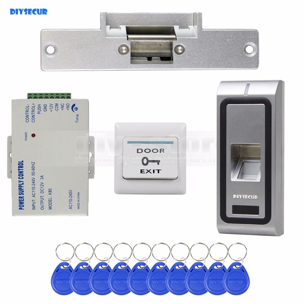 DIYSECUR Fingerprint 125KHz RFID ID Card Reader Door Access Control System Kit + Electric Strike Lock biometric fingerprint access controller tcp ip fingerprint door access control reader