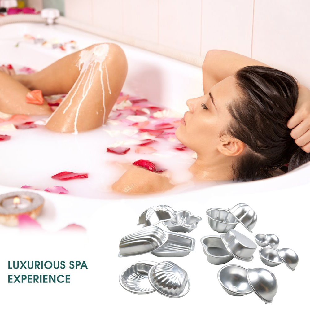 16 Pcs/Set Bath Salts Soap 3D Ball Mold Metal Aluminum Alloy Bathing Tool Accessories DIY Cake Baking Pastry Mould @LS