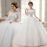 Free Shipping Autumn And Winter Princess Slit Neckline New 2014 Lace Vintage Wedding Dress Formal Dress