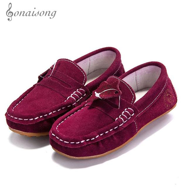2017 news Children's Shoes Kids Loafers Suede Boys Leather Loafer Fashion Casual Shoe Leather super Soft and comfortabel
