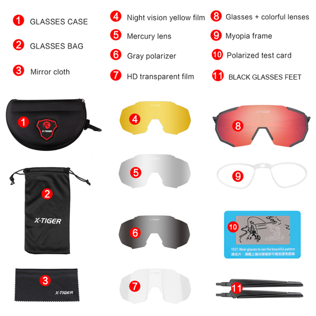 Óculos 5 lentes polarizadas para ciclismo, armação para miopia, óculos de sol para andar de bicicleta e esportes ao ar livre, unissex, X-TIGER 2