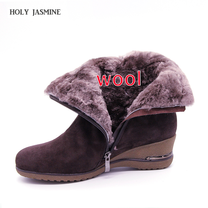 shoes Winter Boots Warm Wool Snow Boots cow Leather Boots Women Shoes 2018 Genuine Leather plus size Wedges Non-slip Women Boots 2017 women winter boots shoes snow boots blue warm snow boots down plus size 35 42 non slip platform winter boots shoes xz 29