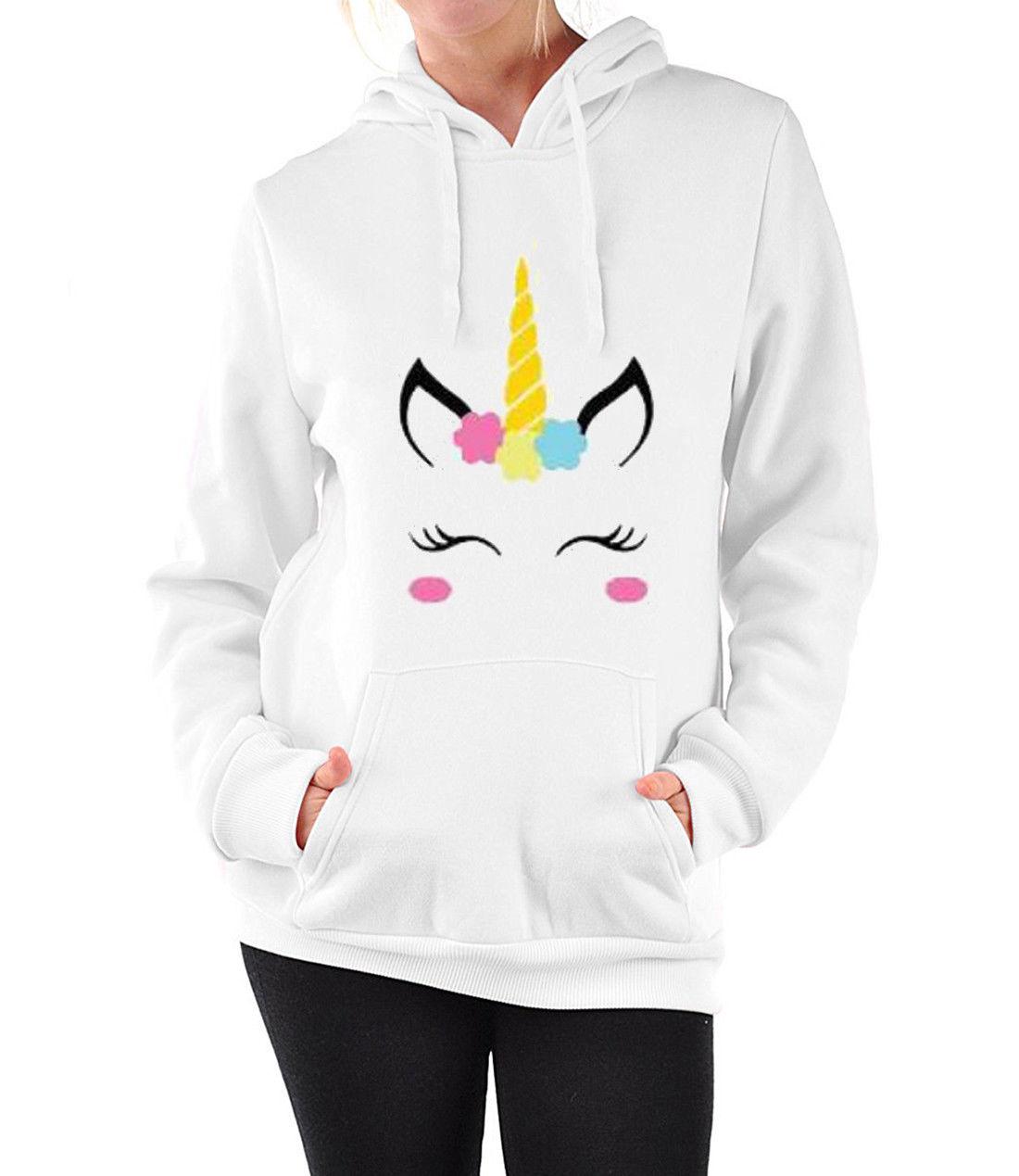 2017 Autumn Women Ladies Girl Sweet Unicorn Printed Hoodie Sweatshirt Long Sleeve Pull Pocket Licorne Harajuku Fleece Clothes