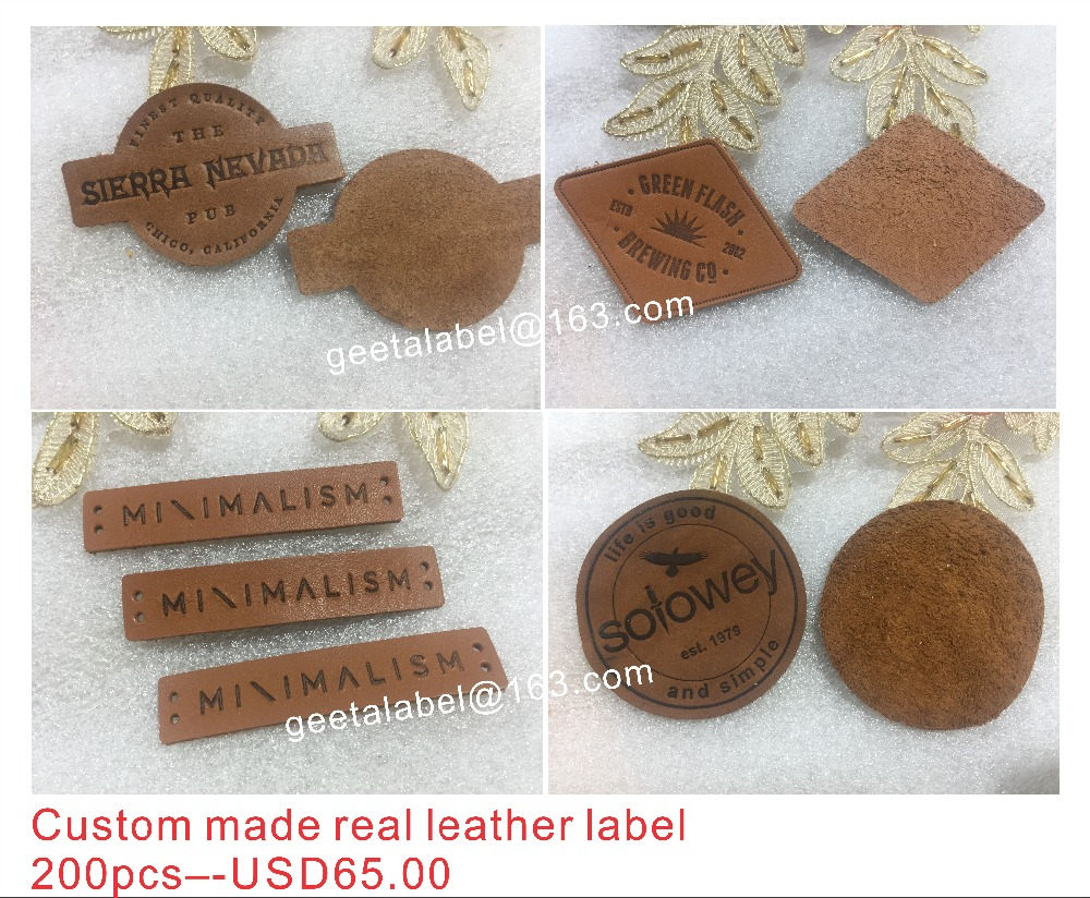 custom real leather labels for jeans bags clothes real leather label leather label label debossed engraved