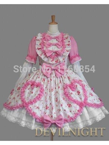 Lolita Longues Imprimé Sweet Motif Floral Rose Robe Manches Multi Blanc Et qnxI4nwY8