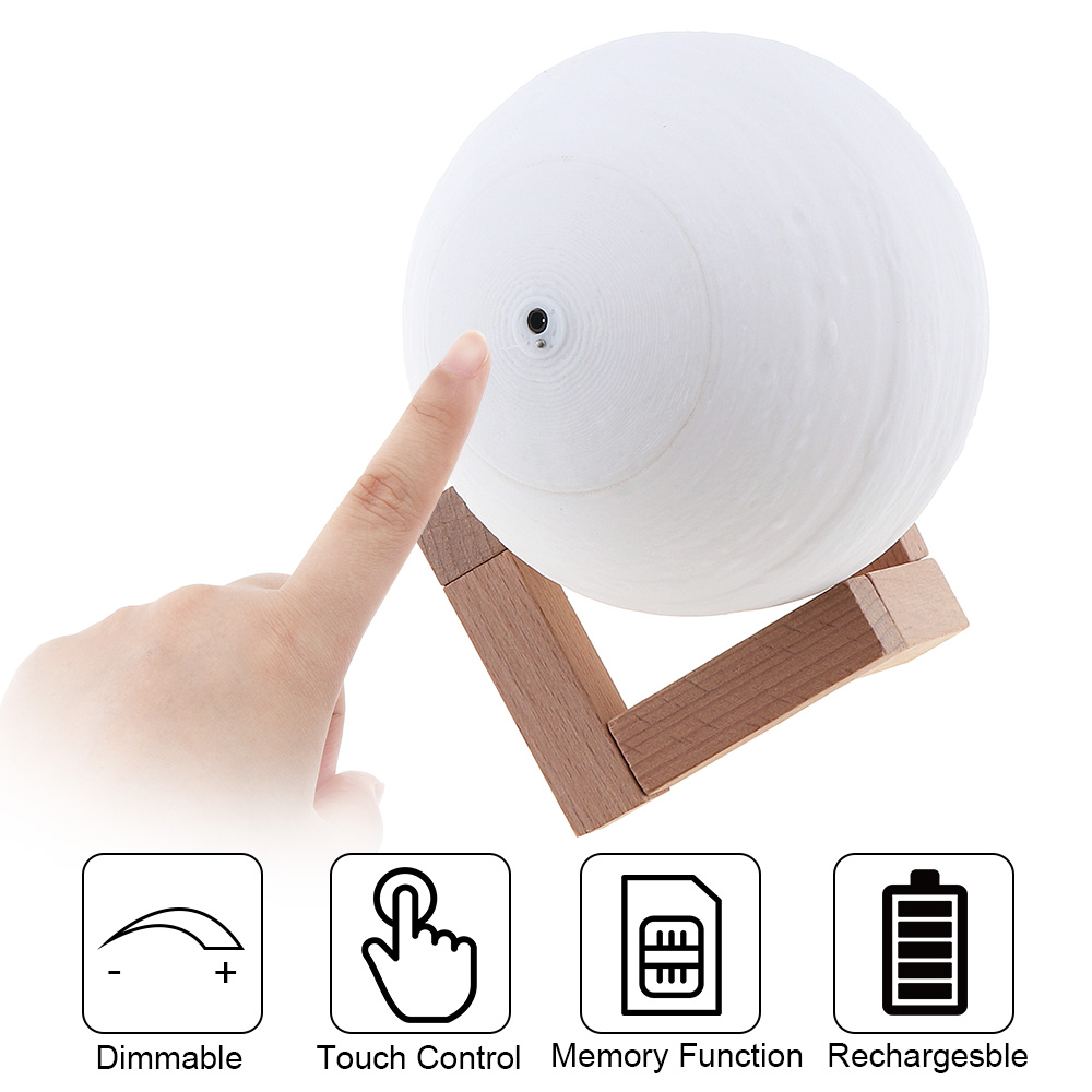 20CM Rechargeable 3D Print Jupiter Lamp Touch Switch to Adjust The Brightness for Creative Gift Home Decor in Night Lights from Lights Lighting