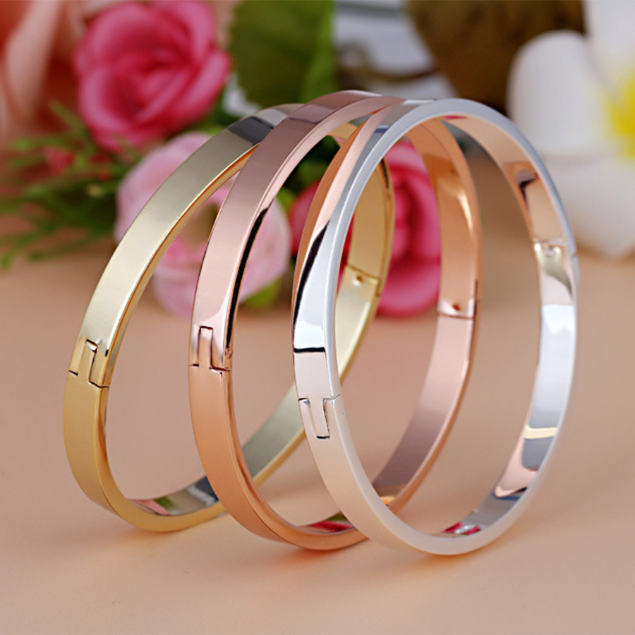2018 Fashion Jewelry Carter Bangles Love Bracelets for Women Men Stainless Steel Gold Color Lovers Classic Smooth Pulseira B0159