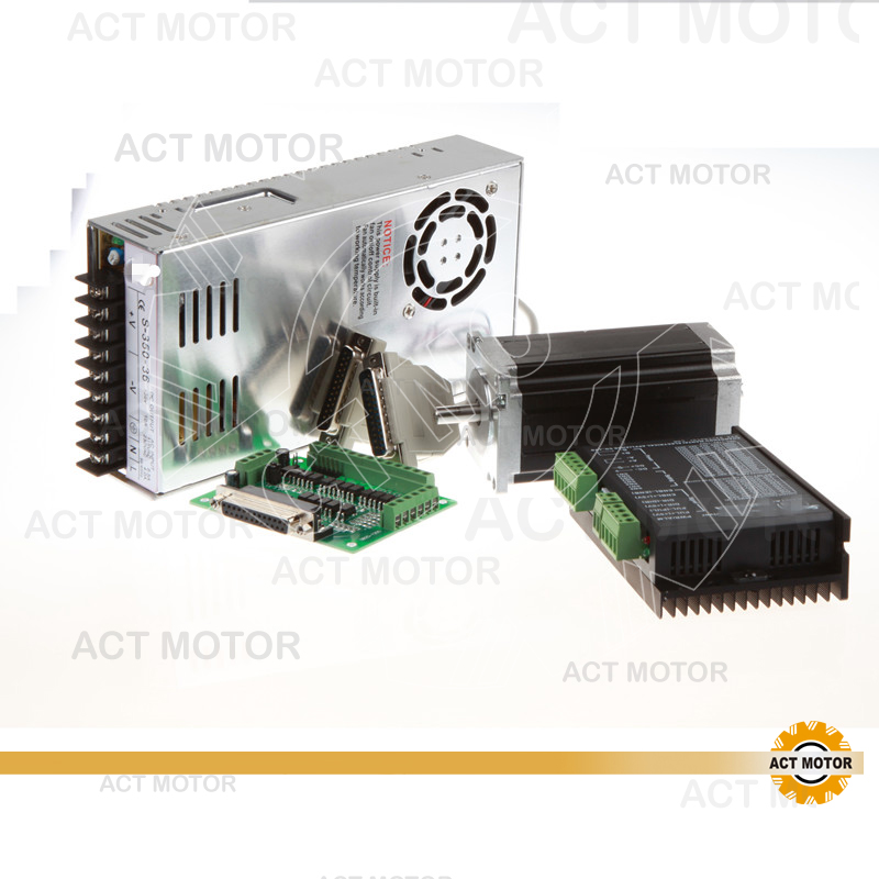 ACT Motor 1Axis Nema23 Stepper Motor Single Shaft 23HS2430 425oz-in 3A 4Leads Bipolar+Driver DM542 128Micro Medical Laser Mill