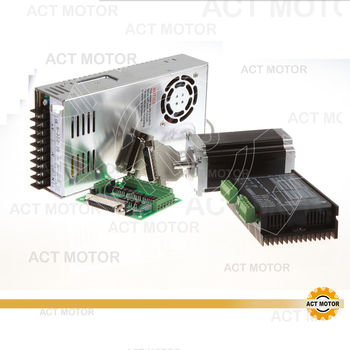 ACT Motor 1Axis Nema23 Stepper Motor Single Shaft 23HS2430 425oz-in 3A 4Leads Bipolar+Driver DM542 128Micro Medical Laser Mill image
