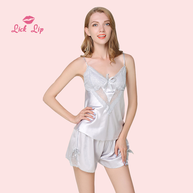 Satin Summer Pajamas Sets Women Night Suit Shorts Lace Transparent  Sleepwear Ladies Silk Pijama Mujer Femme SWC3223,47
