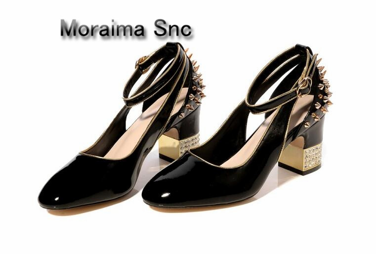 Moraima Snc luxury pumps black red Patent leather dancing shoes cut-out rivet high heels pumps women crystal mary janes shoes luxury brand crystal patent leather sandals women high heels thick heel women shoes with heels wedding shoes ladies silver pumps