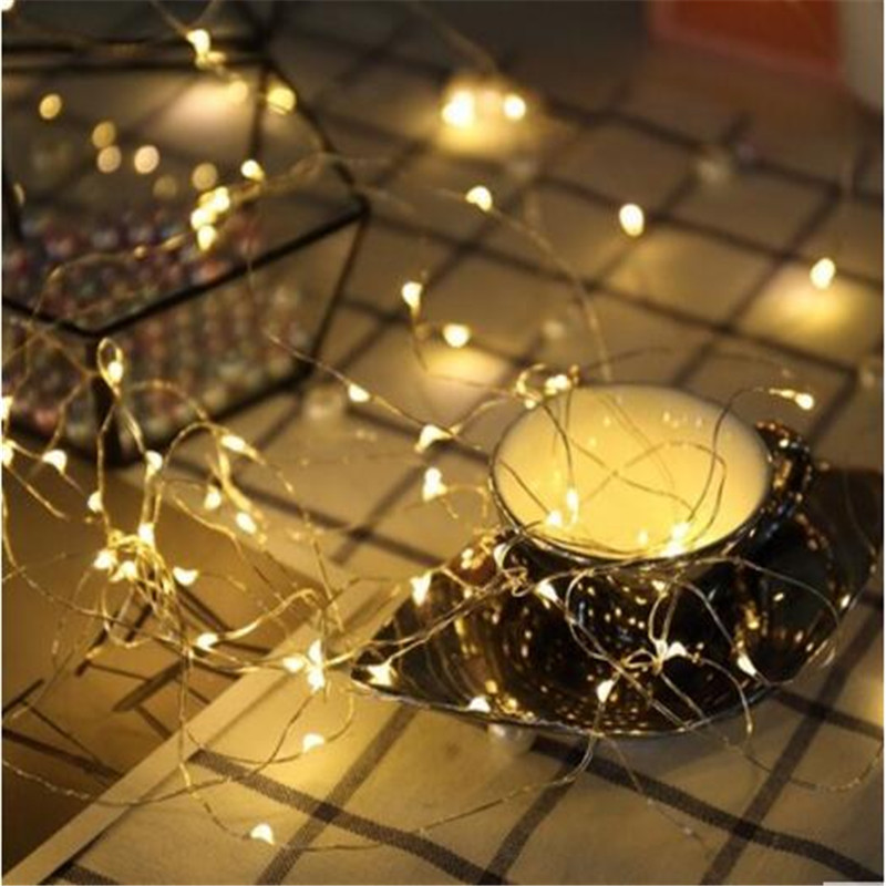 3pcs 1M 10 LED Starry String Lights Fairy Mini LEDs DIY Copper Wire Battery Holiday Wedding Decoration Light for Christmas Glass