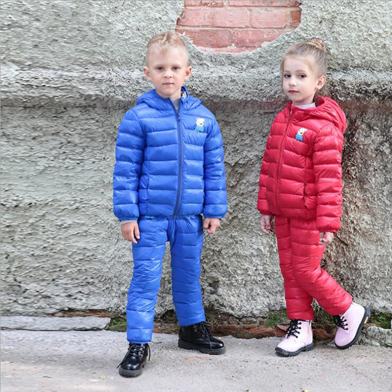 Down jacket Autumn and winter new warm hooded boy down jacket Girl down jacket Children's suit down jacket