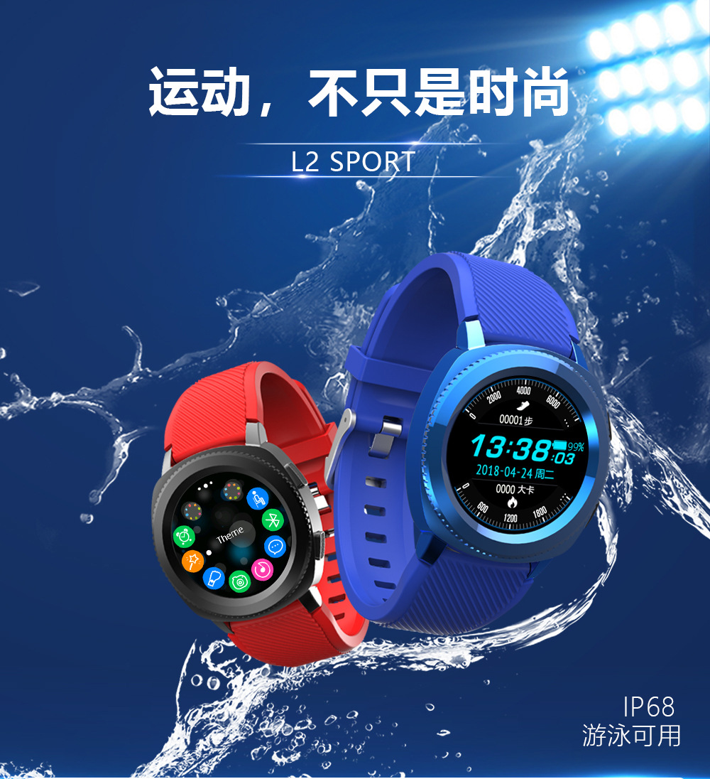 Steel belt smart watch L2 fashion sports timing Bluetooth waterproof photo men's business watch Wearable Devices For ios Android