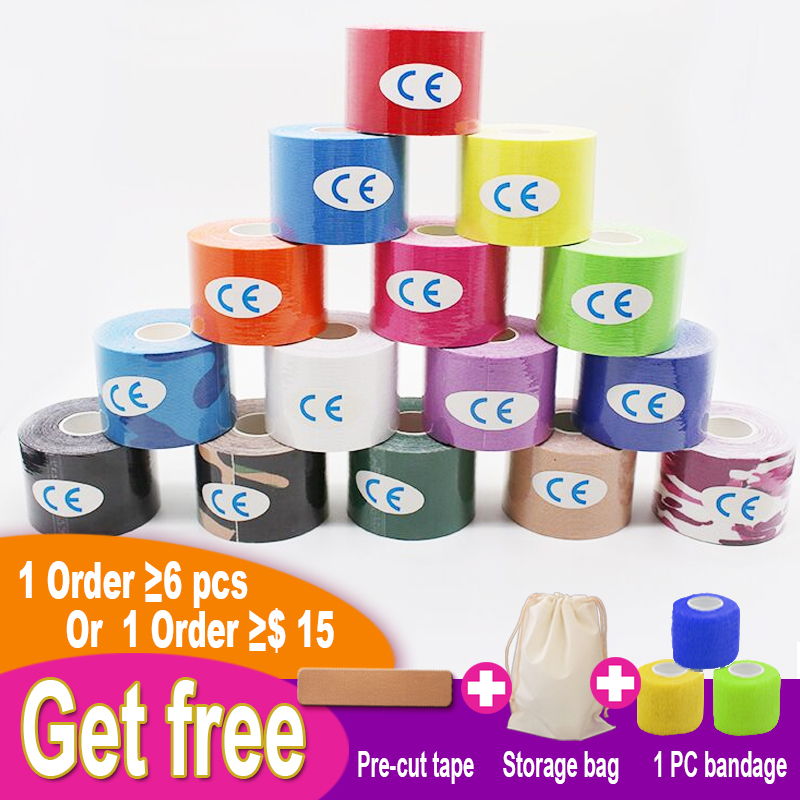 5cmX5m Water-resistant Hypoallergenic Cotton Elastic Muscle Energy Tape Sport Tape And Gym Fitness Kinesiology Tape